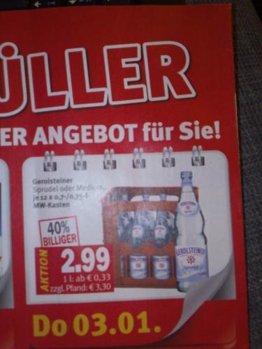 [Region 50...-53...] Kaisers - 1 Kasten Gerolsteiner Sprudel 2,99 zzgl Pfand!!!