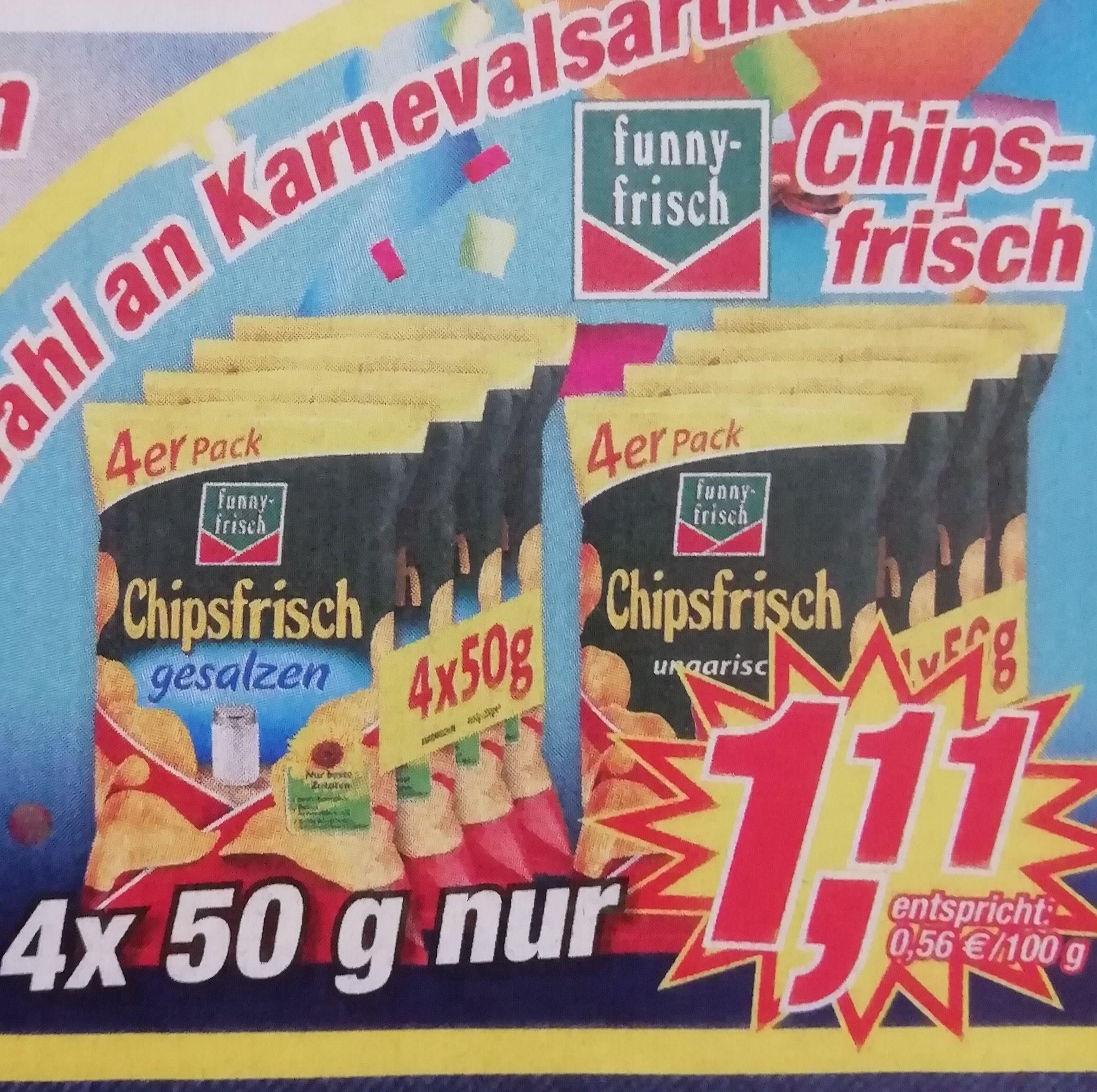 [Postenbörse] funny-frisch Chipsfrisch 4er Pack für 1,11€ (0,56€/100g)