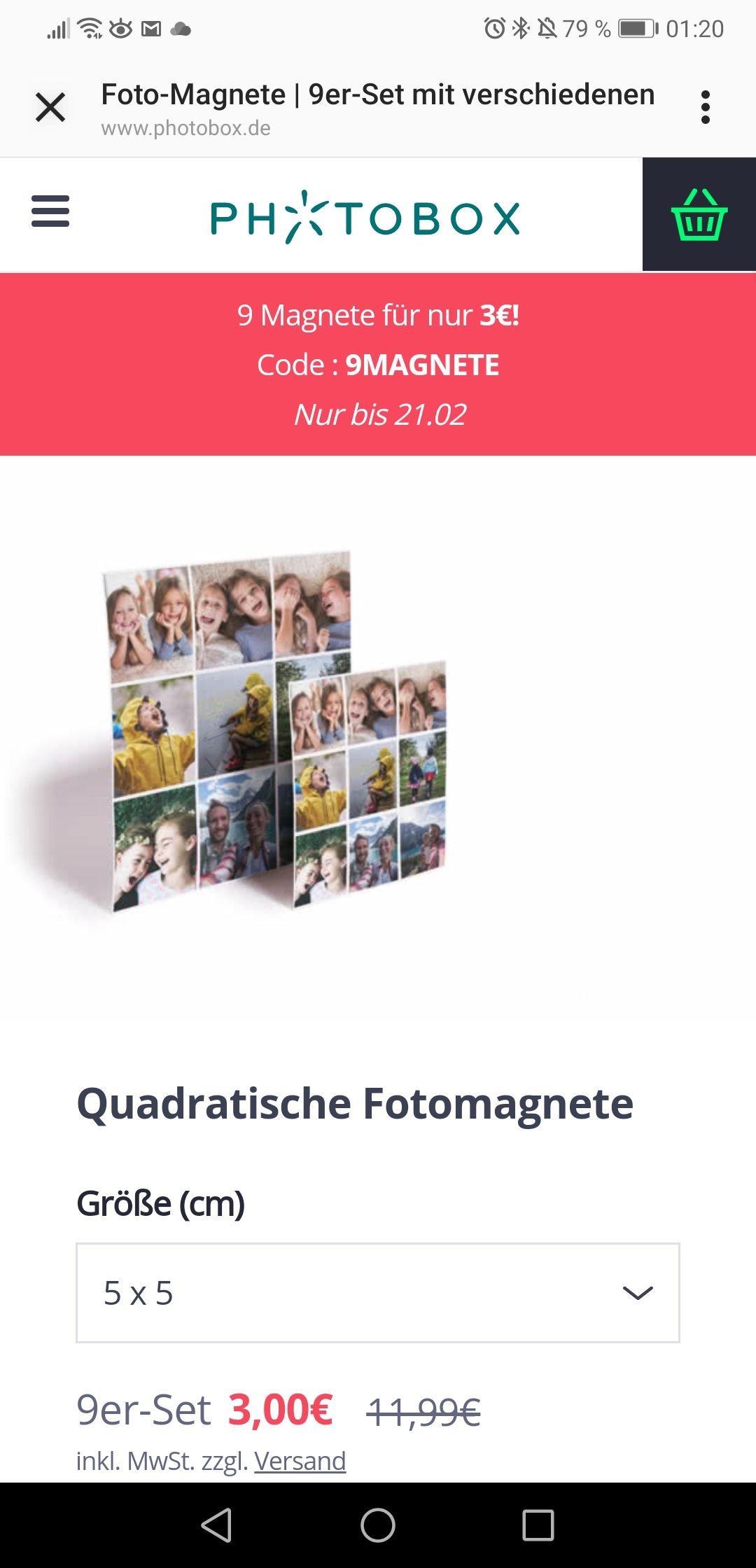 [Photobox.de] 9 Foto-Magnete mit eigenen Motiven 5cm X 5cm für 4,99€