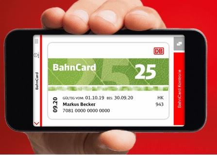Digitale BahnCard in App laden: 100 Bonuspunkte für eingeladene Kunden