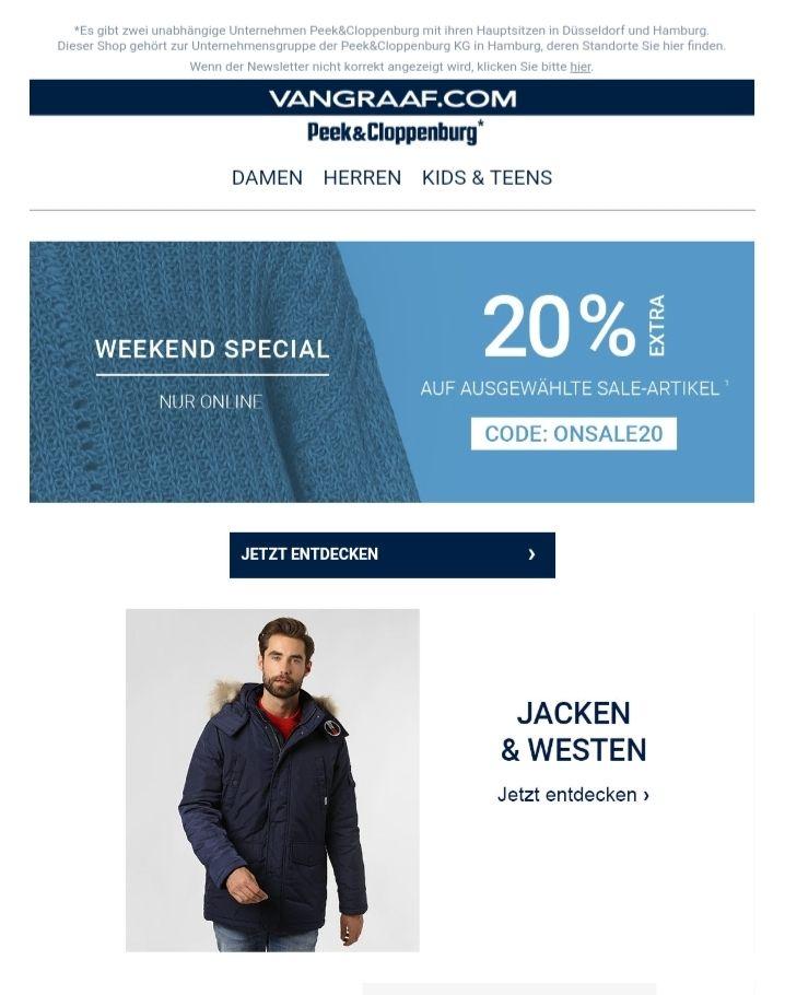 Weekend Special bei VANGRAAF.COM/P&C - 20% Extra Rabatt auf ausgewählte Artikel
