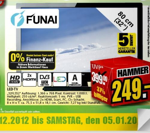 [  LOKAL Marktkauf 249€  ]   Funai 32FL552/10 80 cm (32 Zoll) LED-Backlight-Fernseher, Energieeffizienzklasse A (HD-Ready, DVB-T/C) schwarz
