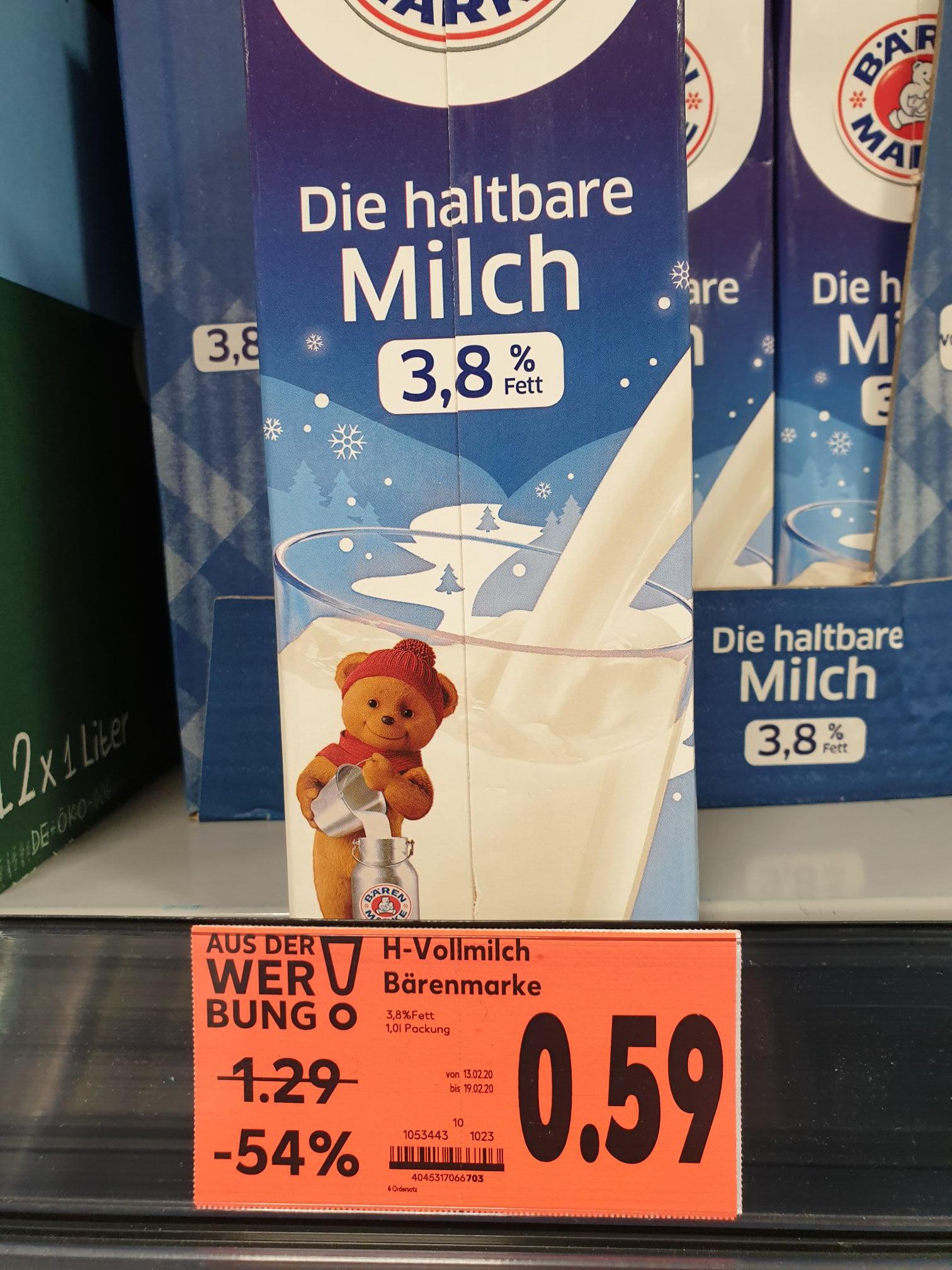 (LOKAL Kaufland Berlin) Bärenmarke Milch (3.8% u. 1.5%) und Weihenstephan Milch (1.5%)