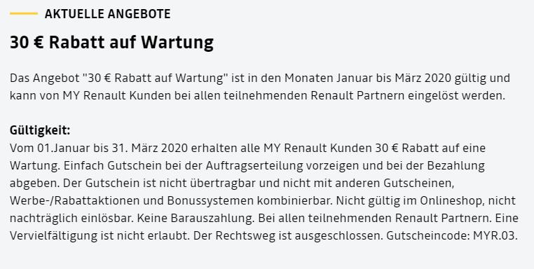 bis März: 30€ Gutschrift für Wartung für Renault oder Dacia
