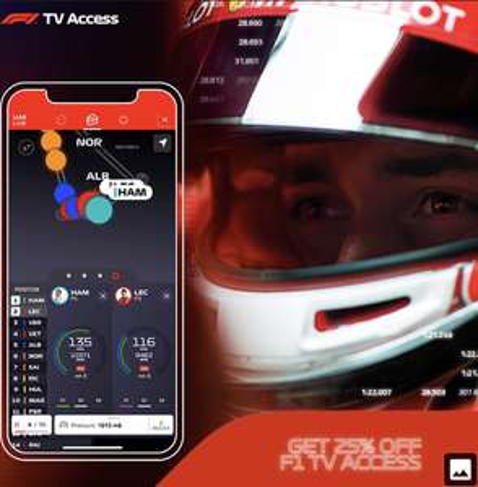 F1 TV Pro - Sport Live-Streaming - TV 25% Gutschein