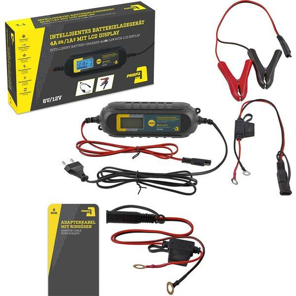 Priopa Auto-Batterieladegerät mit LC-Display 6V-1A / 12V-4A