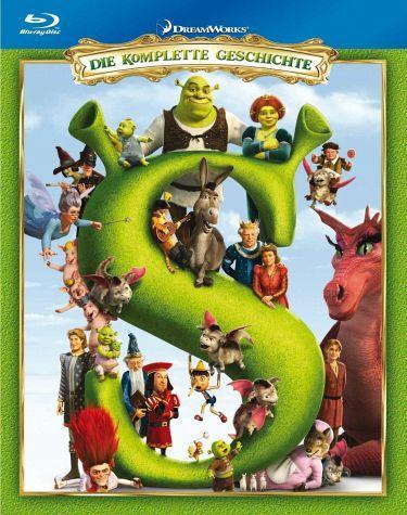 Shrek 1-4, Die komplette Geschichte, 4 Blu-rays für 41,99€  bei Buecher.de