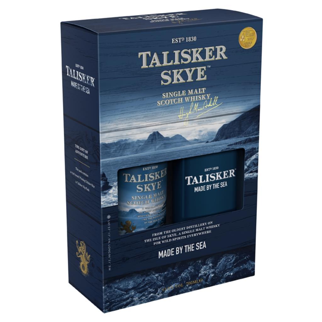Talisker Skye Single Malt Scotch Whisky mit Flachmann Geschenkset | 45,8 % vol | 0,7 l