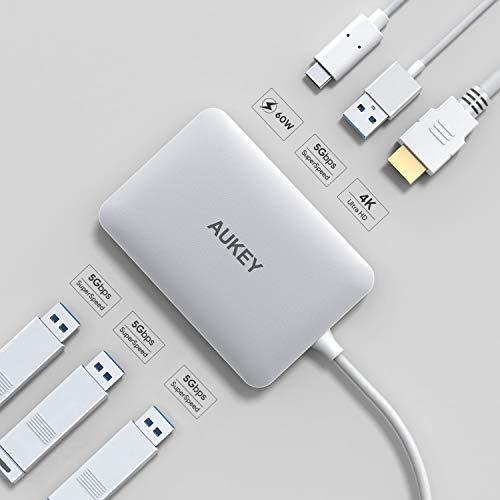 AUKEY USB C Hub (6 in 1) HDMI Port 4K, 4x USB 3.0 Ports und 100W USB C Ladeanschluss (Power Delivery) für 19,99€ [Amazon]