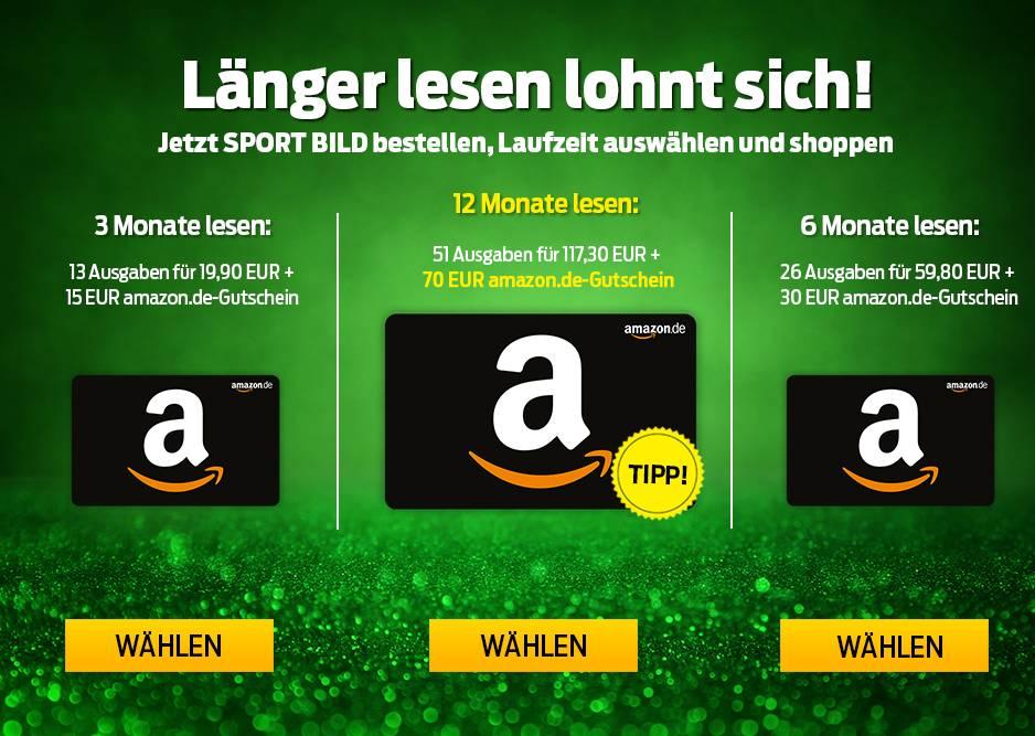 Sport Bild Abo: 3 Monate für 19,90 € mit 15 € Amazon-GS / 6 Monate für 59,80 € mit 30 € Amazon-GS