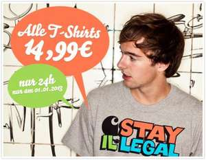 Am 01.01.2013: Alle T-Shirts 14,99 € bei inflammable.com (Board- und Streetwear)
