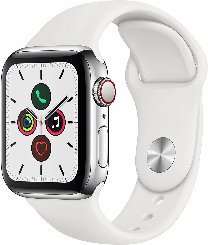 Apple Watch Series 5 Edelstahl (GPS+Cellular, 40 mm, OLED-Display) - Sportarmband Weiß