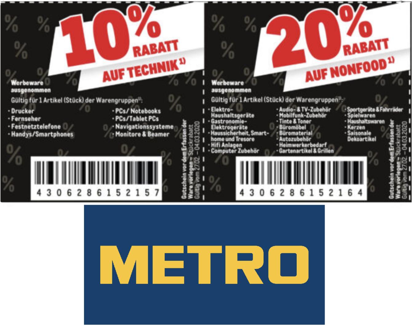Metro: 10% auf Technik (auch Apple) - 20% auf Nonfood - 30% auf Textil - z.B. Apple Airpods Pro für 222,76€ - Gewerbe o. Verein erforderlich