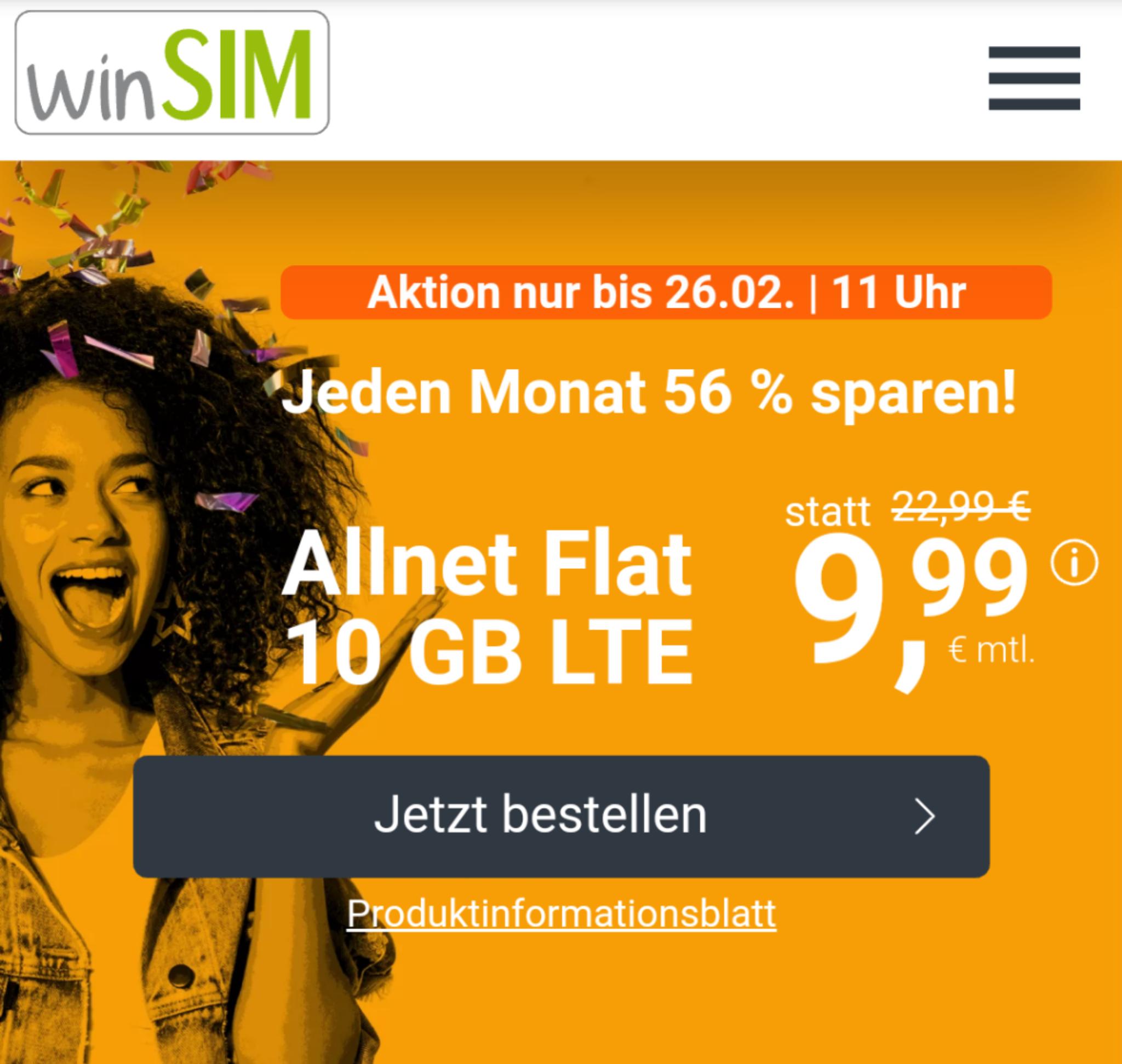 WinSIM LTE All 10GB Datenvolumen + monatlich kündbar für 9,99€