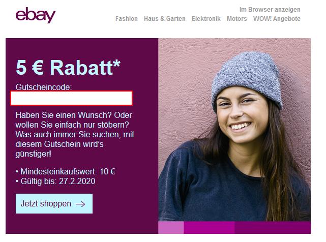 [ebay] Personalisierter 5 EUR Rabatt ab 10 EUR Einkaufswert