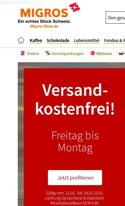 Migros Versandfrei ab 9,95 Bestellwert + weitere Angebote