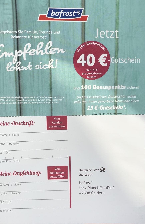 Bofrost 40€ Gutschein KWK