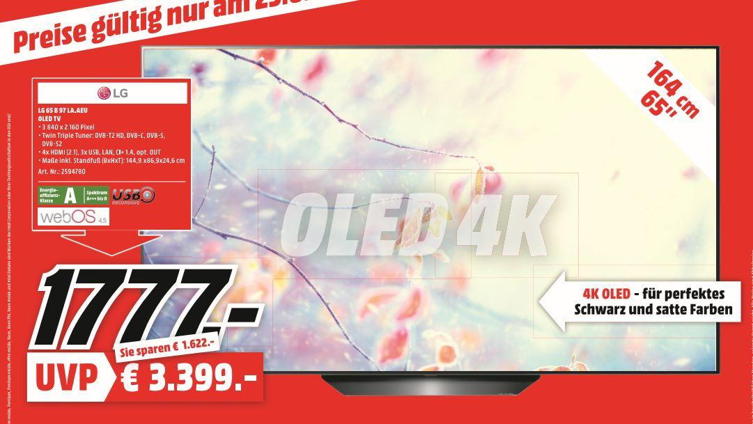 [Regional Mediamarkt Berlin-Nur am 23.02] Sony KD55XG8505 LED,4K Ultra HD, HDR, Smart TV für 699,-€ oder LG 65B97 la Oled TV für 1777,-€