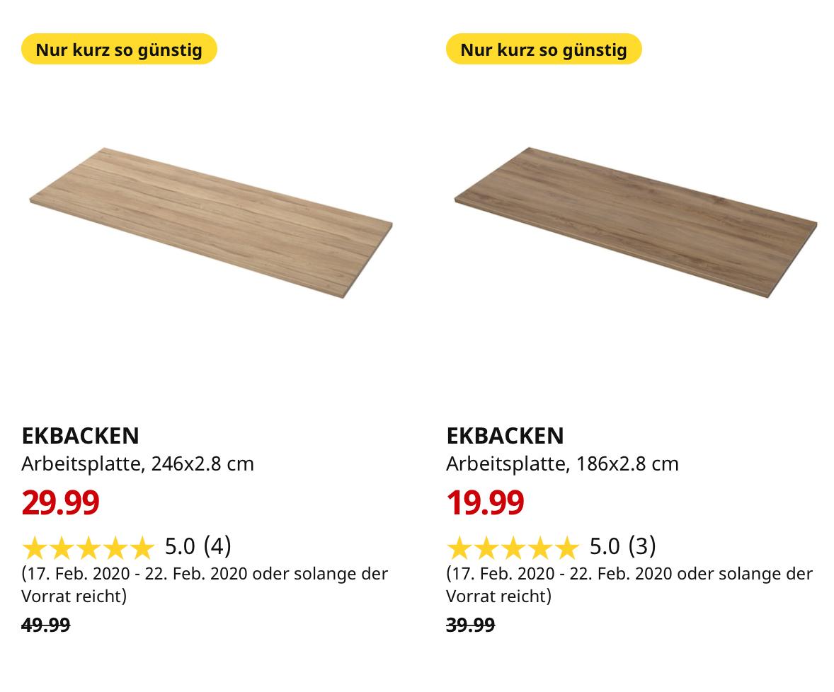 ( IKEA Großburgwedel ) EKBACKEN Arbeitsplatte Eichenachbildung dunkel & hell im Angebot