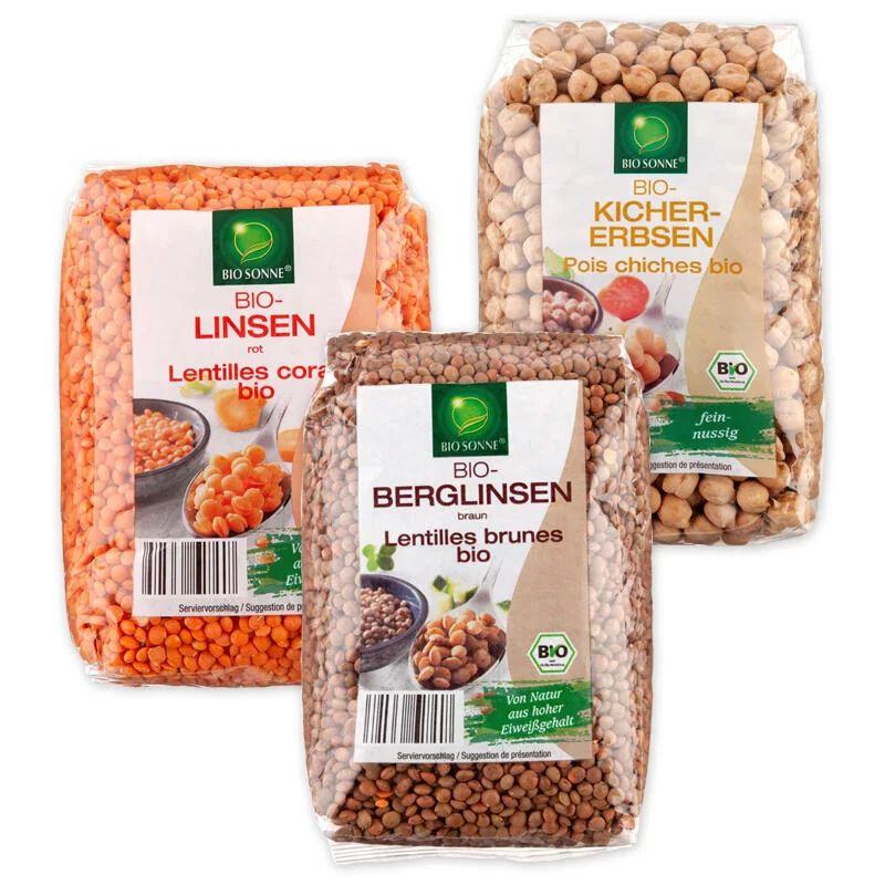 Bio-Hülsenfrüchte XXL - 1kg Linsen rot, Berglinsen oder Kichererbsen +++ 1kg Bio-Sonnenblumen- oder Kürbiskerne (300g) für 2,29€