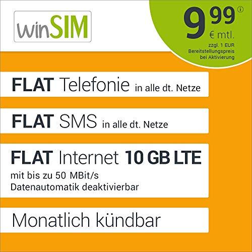 [Prime] winSIM über Amazon, 10GB LTE Monatlich Kündbar, 9,99€ Aktivierungsgebühr, 9,99€ Monatlich