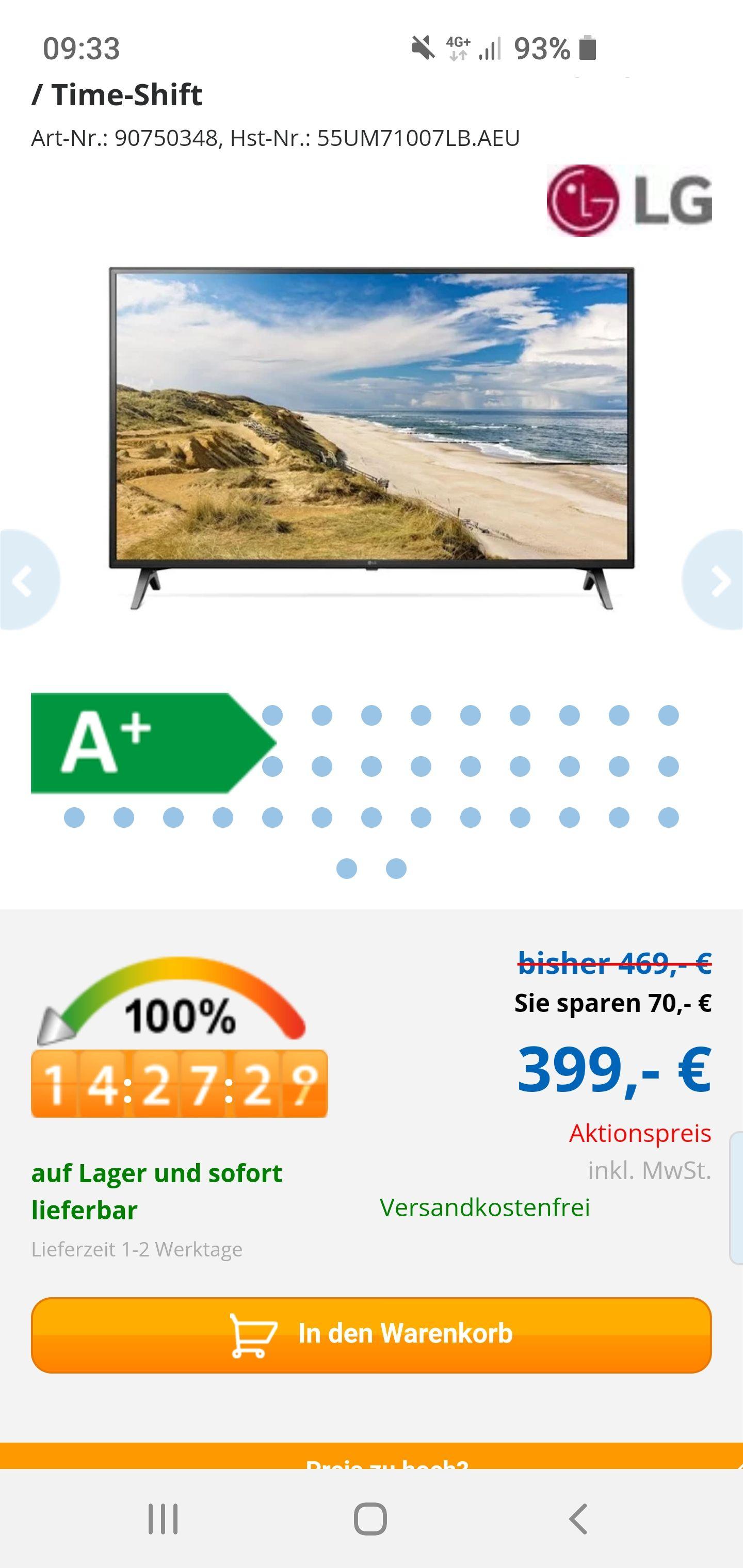 """LG 55UM71007LB (55"""") bei computeruniverse für 399€"""