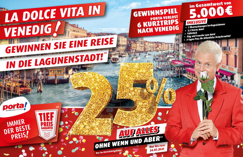 Porta NRW & Online am 24.2, 25% auf alles & Essens Gutscheine, z.B Currywurst Pommes & Salat für 3,95€