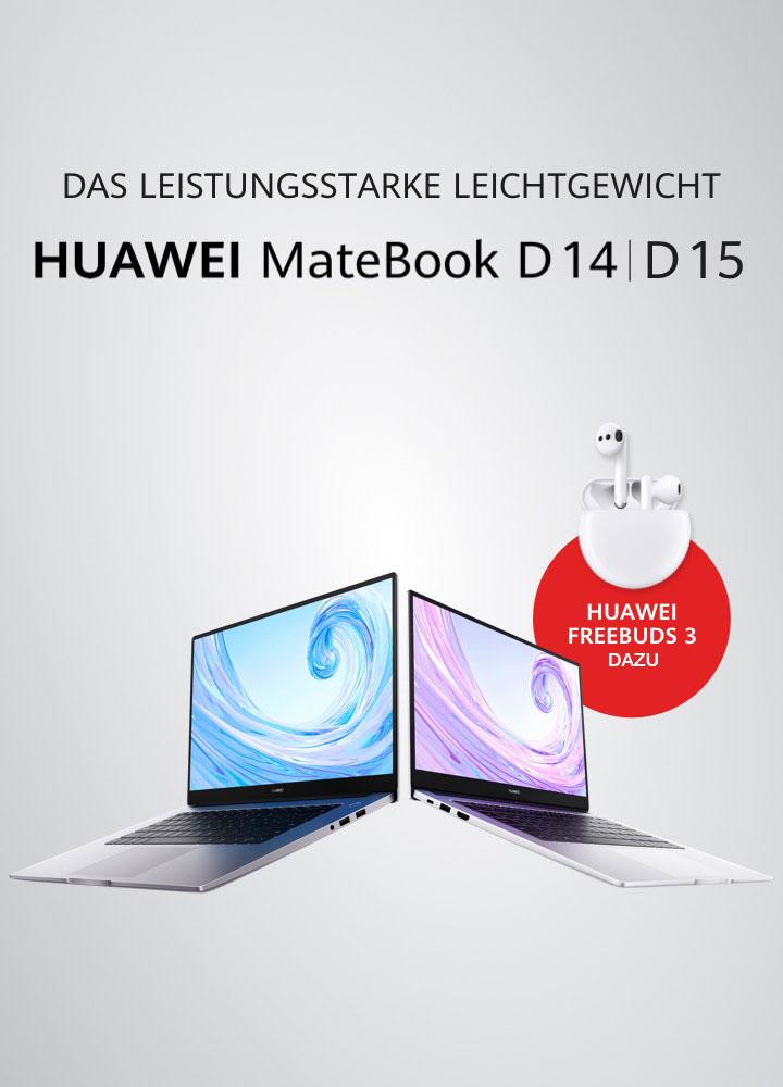 Huawei Matebook D 14/15 bis 08.03. kaufen, Huawei Freebuds 3 (Idealo 138,52€) als Zugabe erhalten