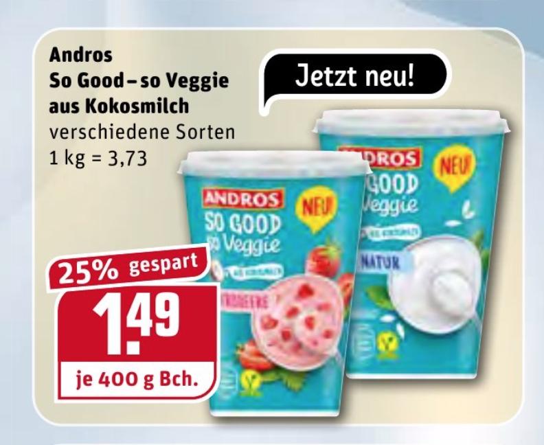 [REWE] Andros - so good so veggie - 400g vegane Joghurtalternative aus Kokosmilch