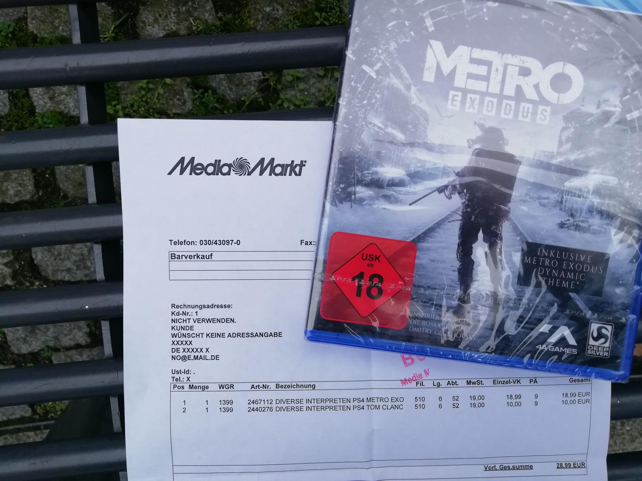 Metro Exodus (PlayStation 4) für 18,99€ [Media Markt Steglitz]