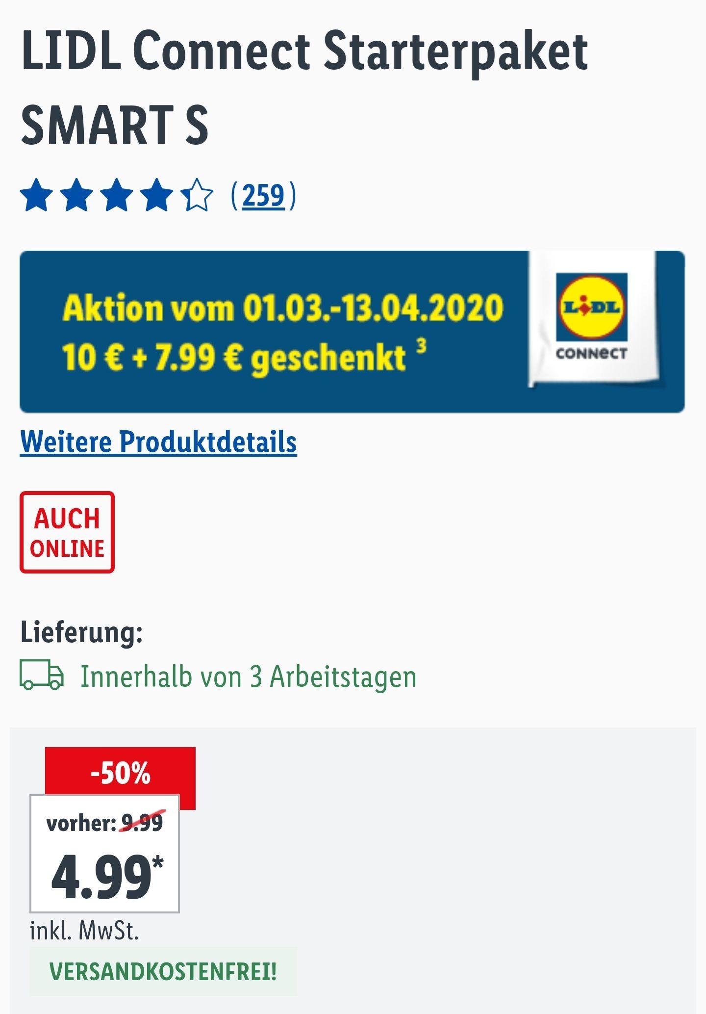 (Lidl bis 13.04.) Lidl Connect Smart S 3GB LTE, Allnet+SMS Flat mit 17,99€ Startguthaben / 4Wochen kostenlos (7,99€/4Wochen, 4,99€ einmalig)
