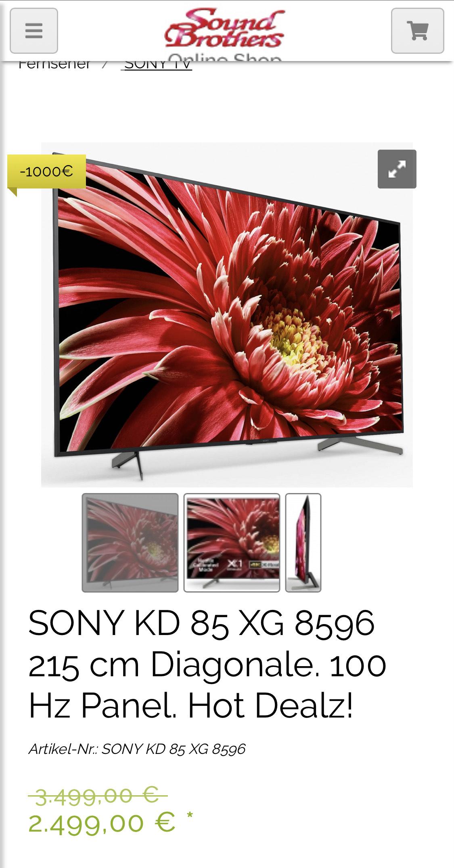 """Lokal: Kassel (Versand ist aber möglich) 85"""" TV SONY KD 85 XG 8596 215 cm Diagonale,"""