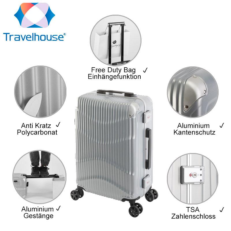 Travelhouse Koffer NewYork Wave   Alu-Rahmen & Polycarbonat- Hartschale   Handgepäck Koffer