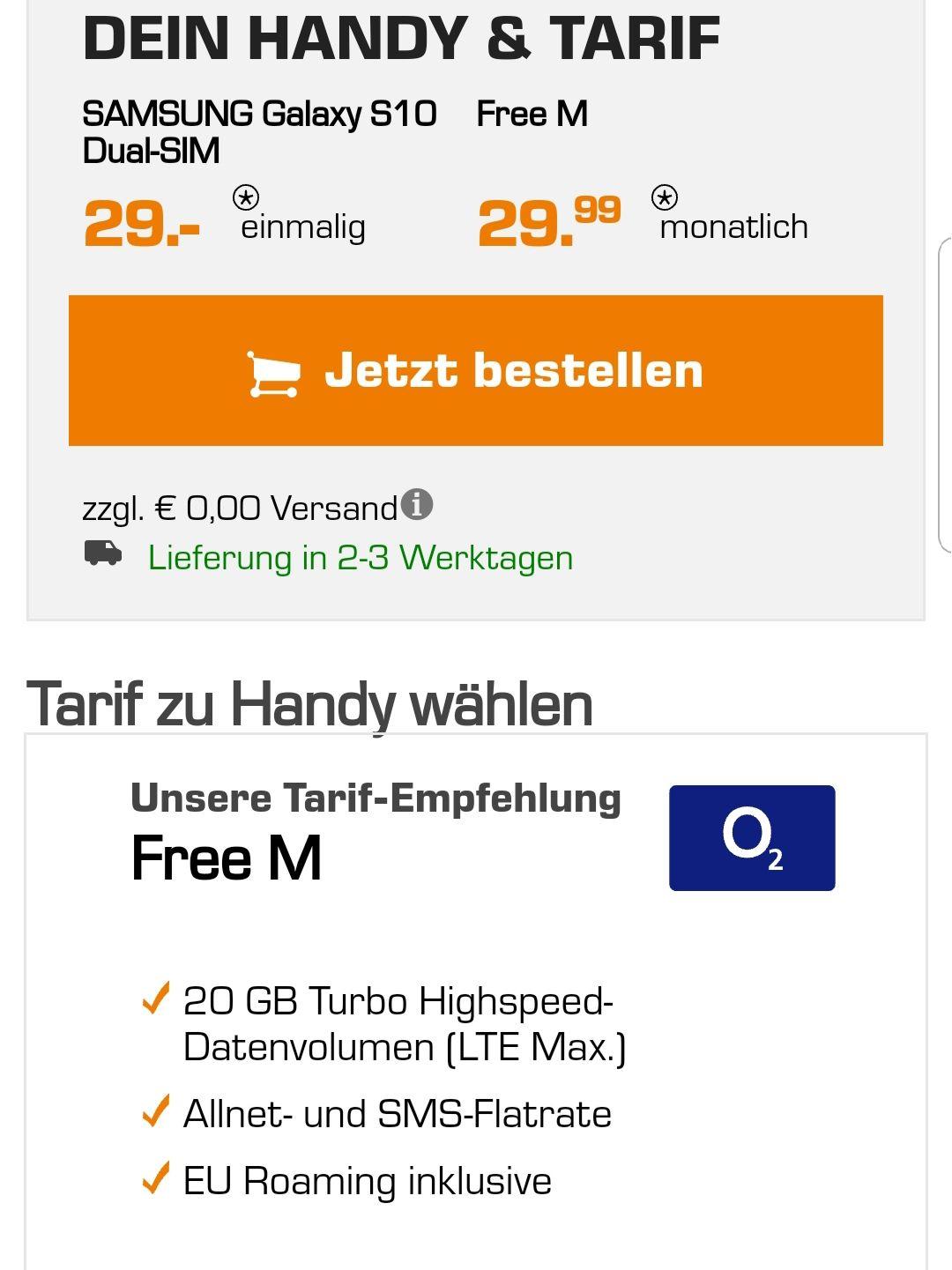 SamsungGalaxy S10O2 Free M 20Gb Saturn einmalig 29€ + 29,99€ Grundgebühr