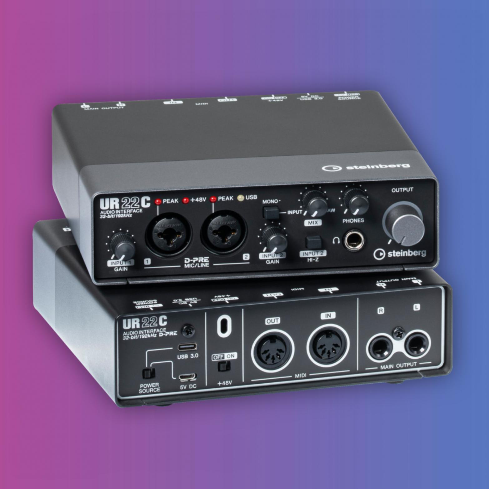 Steinberg UR22C: USB Audio-Interface (32Bit / 192kHz, 2x Mikrofon Verstärker, 2x Line Ein-/Ausgang, DSP, MIDI)