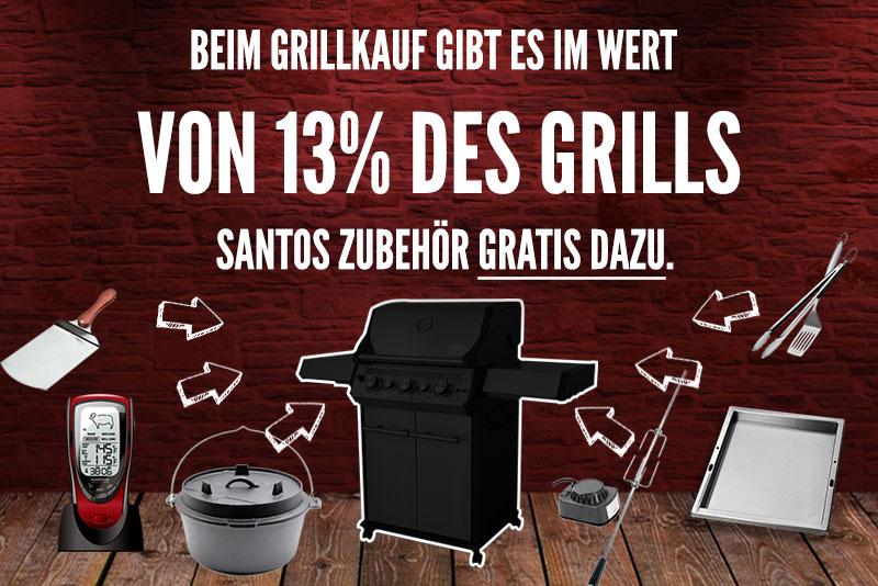 Santos Grillshop: Zubehör im Wert von 13% des Grillpreises geschenkt