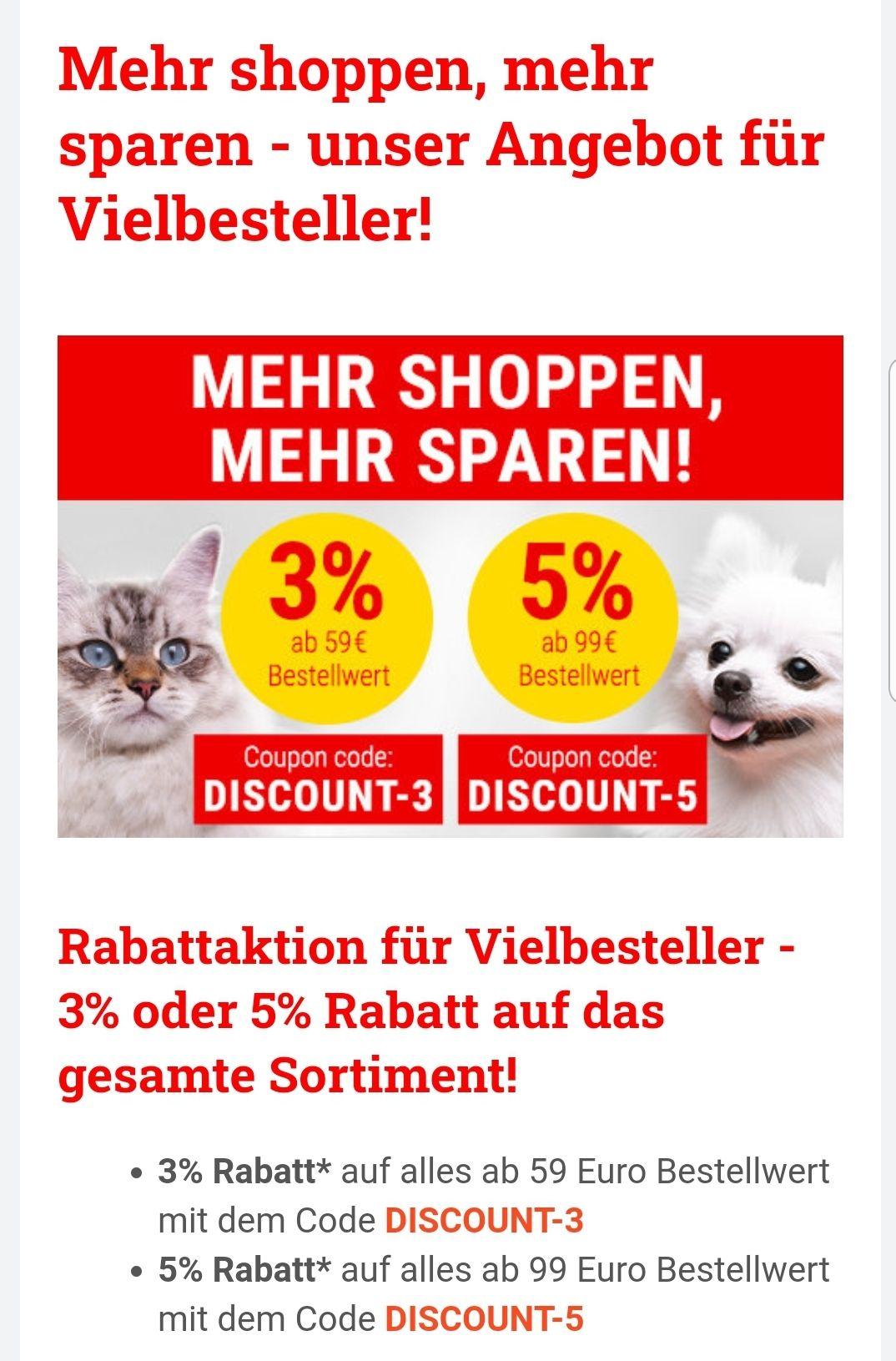 3% bis 5% auf alles bei Bitiba (mbw: 59€, bzw. 99€) Tierfutter & Lebensmittel