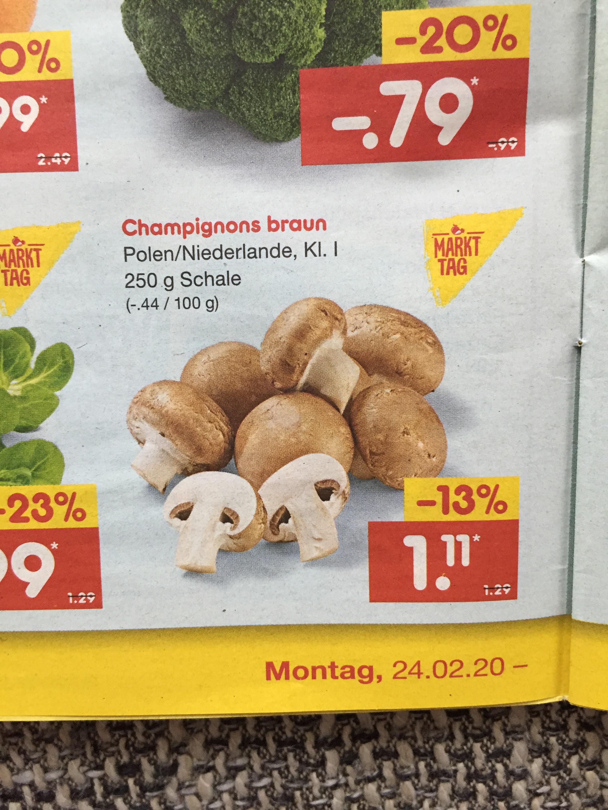~Netto MD/ReweCenter~ Champignons im Angebot und Marktguru gibt 0,35€ Cashback
