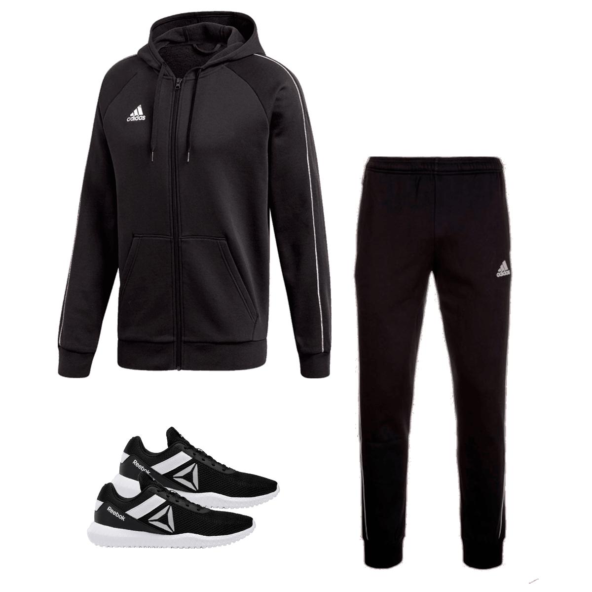 adidas Jogginganzug Core 18 + Reebok Schuh Flexagon Force