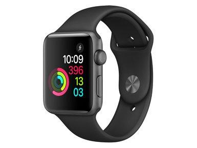 Apple Watch Series 2 42mm Aluminium grau mit Sportarmband schwarz