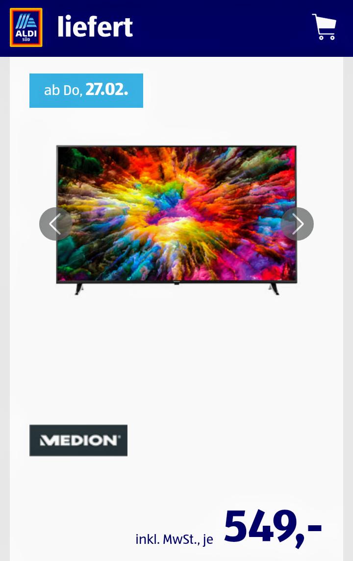 [ALDI Nord und Süd liefert] MEDION LIFE Smart-TV 65 Zoll X16508 Auch online!