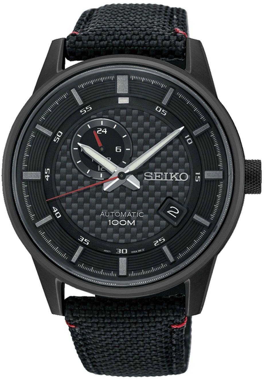 Seiko analoge Automatikuhr SSA383K1 (Glasboden, Datumsanzeige, 24-Stunden-Anzeige, wasserdicht bis 10 bar, Leuchtzeiger) schwarz