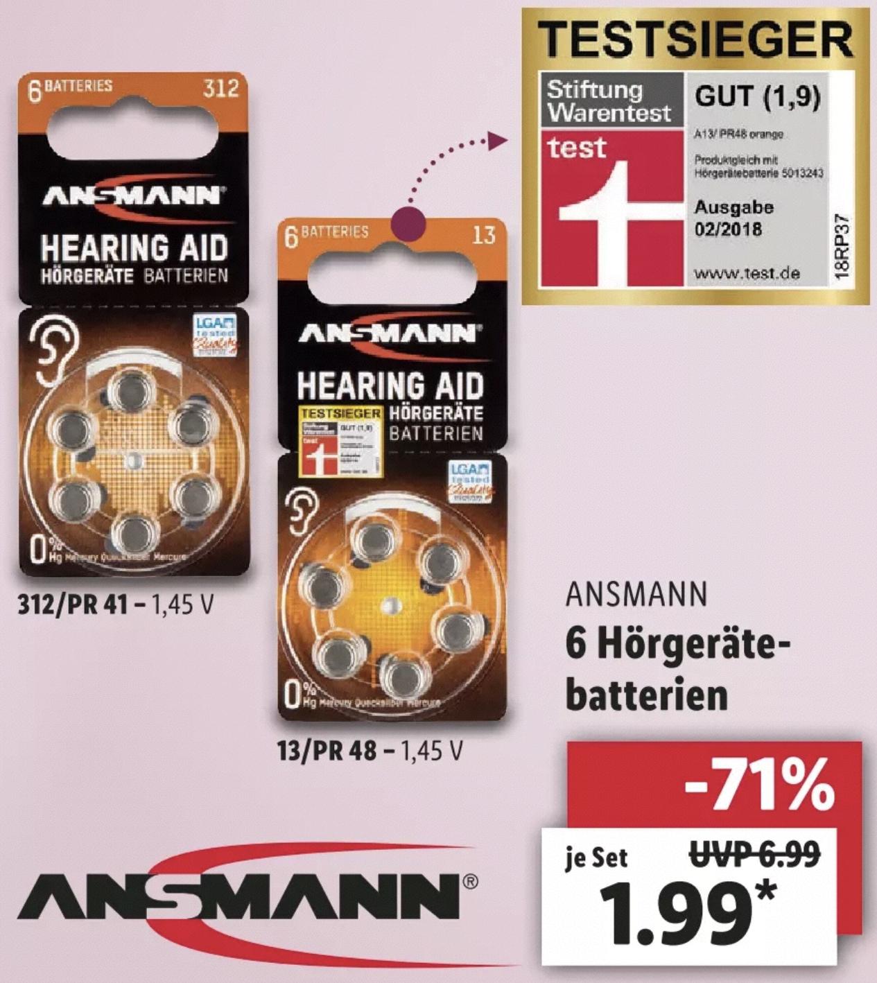 Lidl: Ansmann Hörgeräte Batterien 6 Stück PR41 o. PR48 je 1,99€ - ab 12.03.