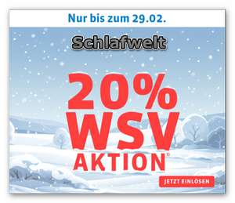 WSV bei Schlafwelt 20% Rabatt + 5% Shoop Cashback ab 50€ vskfrei