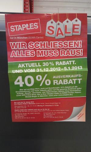 [offline] Lokal: bei Staples im SUMA-Center in München - 40% auf alles