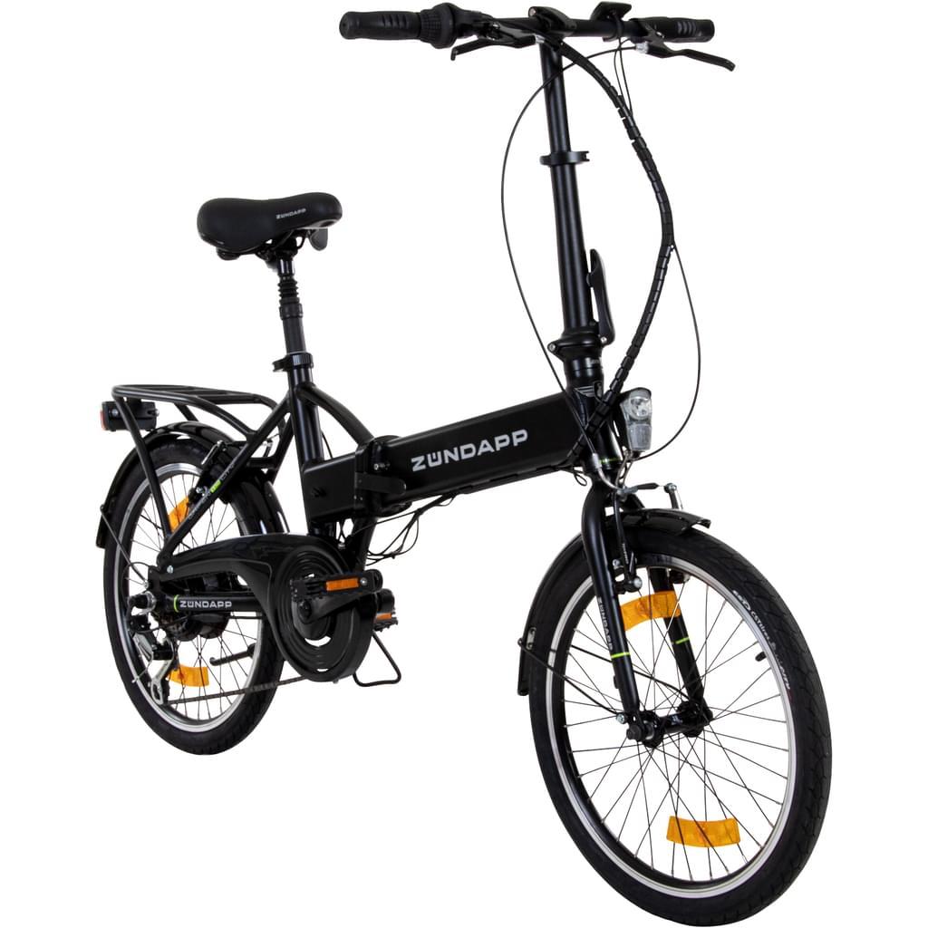 Zündapp Green 1.0 20 Zoll E-Klapprad E Folding Bike Citybike Faltrad Elektrofahrrad Pedelec, Farbe:schwarz matt