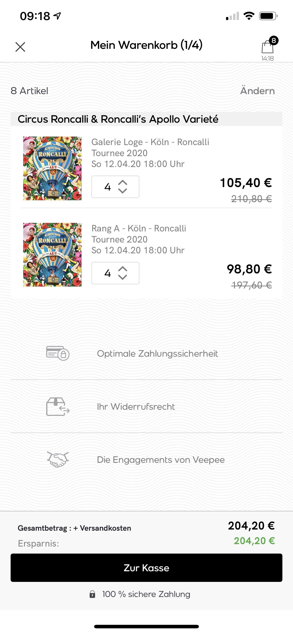 Vente-privée Zirkus roncalli (keine Tiere) im Angebot (Wien, Köln, Recklinghausen, Graz, Linz, Düsseldorf und Ludwigsburg)