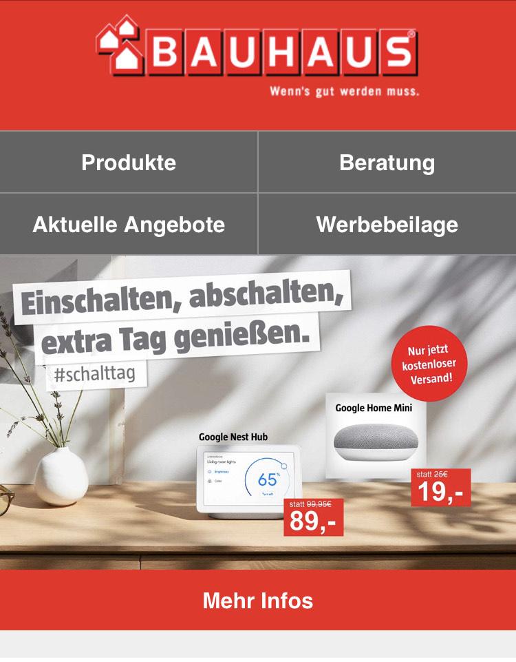 [Bauhaus] Google Nest Hub (89€) und Google Mini (19€)