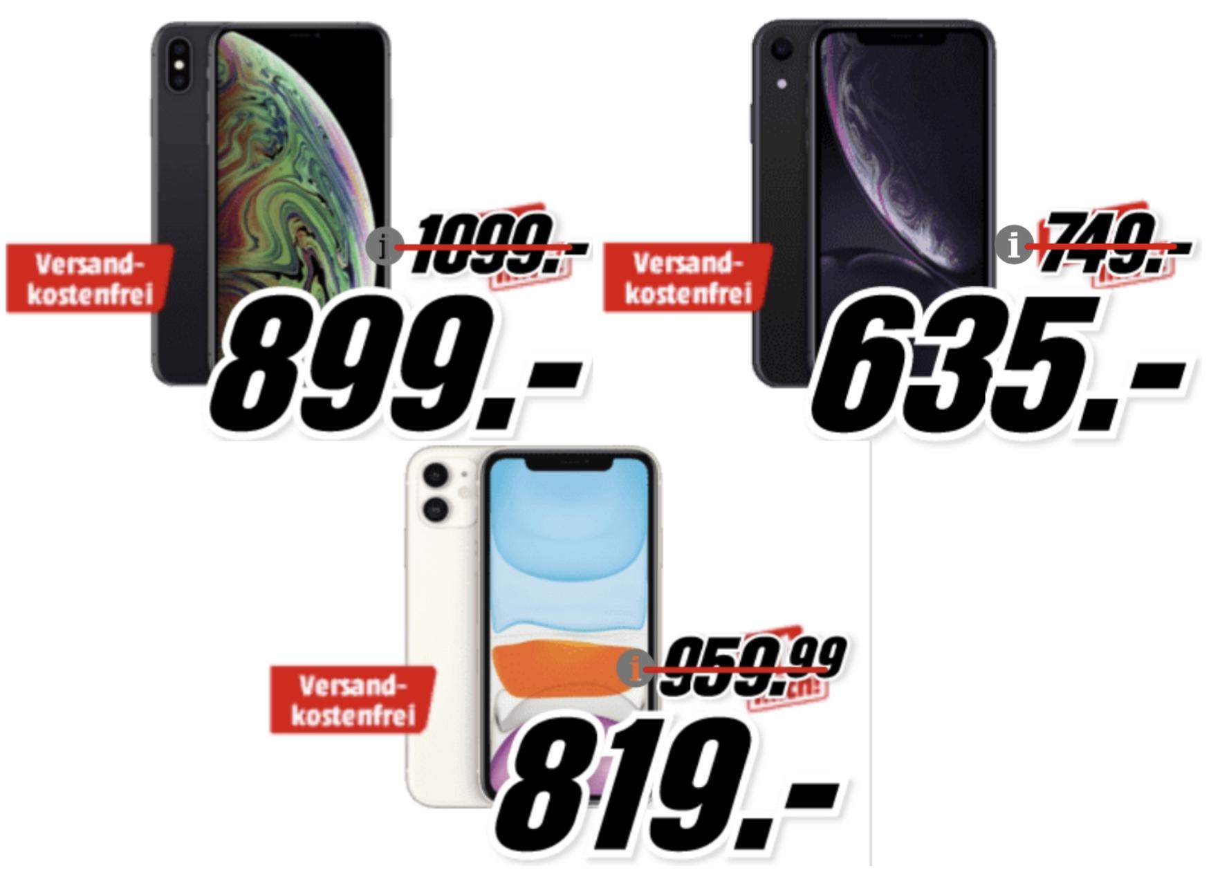 Apple iPhone XS Max 256GB für 899€ o. Apple iPhone 11 256GB für 819€ o. Apple iPhone XR 128GB für 635€ + 1 Jahr Apple TV+ inkl. Versand