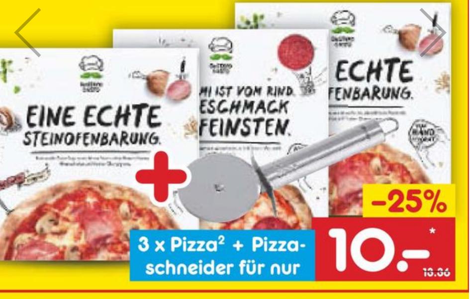 """3×GUSTAVO GUSTO PIZZA NACH WAHL +GRATIS """"Fackelmann"""" PIZZASCHNEIDER FÜR 10€"""